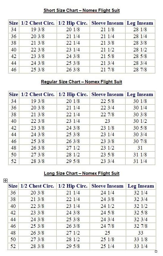 flight suit sizing chart